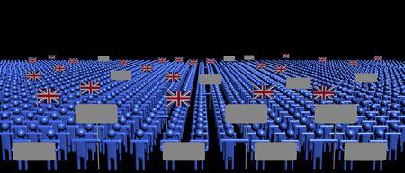 bandera de gran bretaña: Multitud de personas con signos e ilustración de banderas británicas