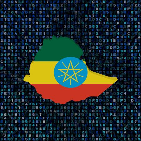 Ethiopia map flag on hex code illustration