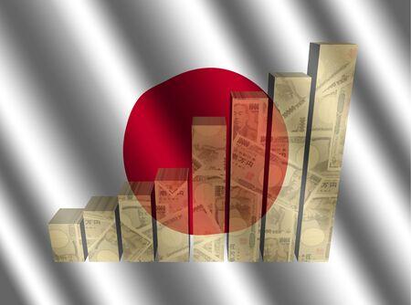 bandera japon: Currency graph on rippled Japanese flag illustration