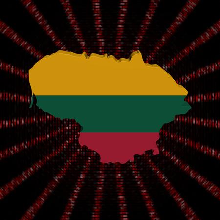 Lithuania map flag on red hex code burst illustration Stock Photo