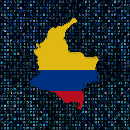 Colombia map flag on hex code illustration