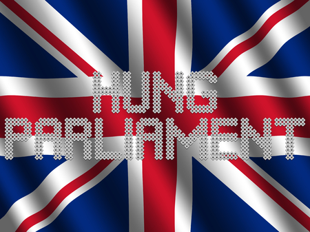Hung Parliament text of votes on rippled British flag illustration
