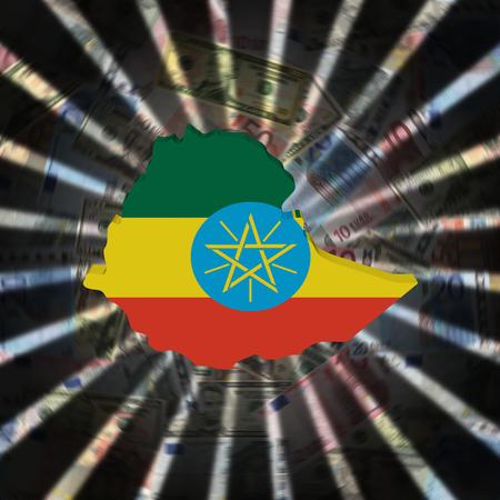 Ethiopia map flag on currency burst illustration Stock Photo