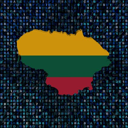 Lithuania map flag on hex code illustration Stok Fotoğraf