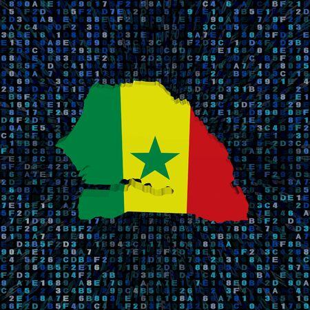senegal: Senegal map flag on hex code illustration