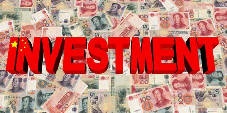 Investment text with Chinese flag on currency illustration