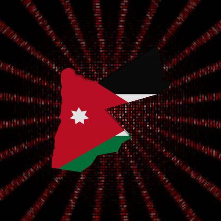 Jordanië kaart vlag op rode hex code code illustratie