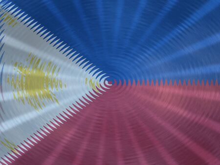 Philippines flag background with ripples and rays illustration Stock Photo