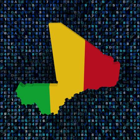 Mali map flag on hex code illustration