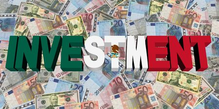 speculation: Investment text with Mexican flag on currency illustration Stock Photo