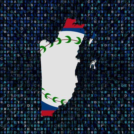 belize: Belize map flag on hex code illustration Stock Photo