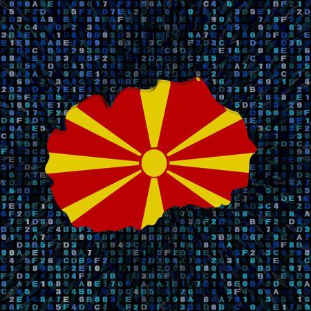 Macedonië kaart vlag op hexadecodes illustratie Stockfoto