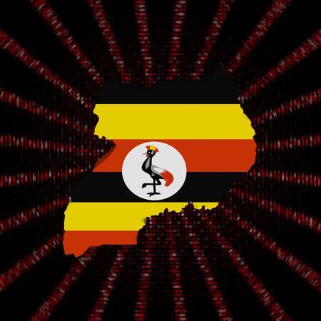 De kaartvlag van Oeganda op rode de burstillustratie van de hexuitdraaicode