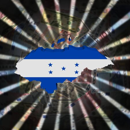 bandera honduras: Honduras map flag on currency burst illustration