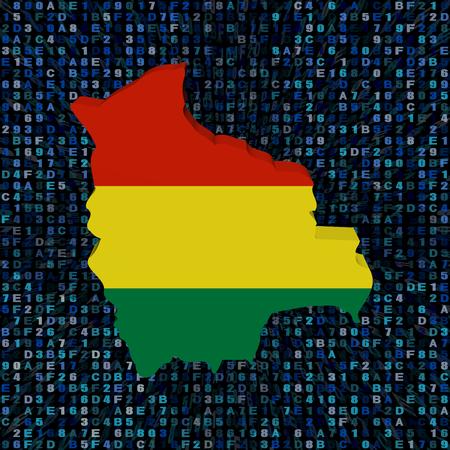 bolivian: Bolivia map flag on hex code illustration