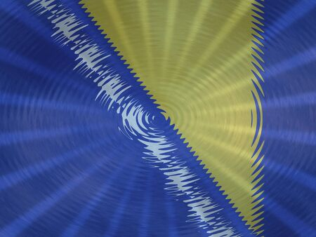 Bosnia flag background with ripples and rays illustration Stock Photo