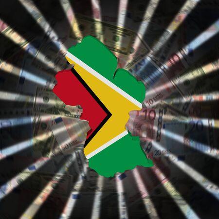 Guyana map flag on currency burst illustration Stock Photo