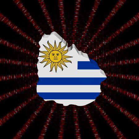 Uruguay map flag on red hex code burst illustration Imagens