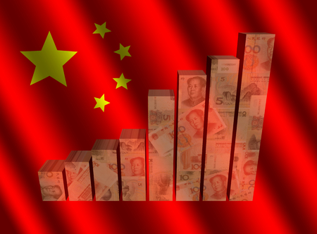 Currency graph on rippled Chinese flag illustration