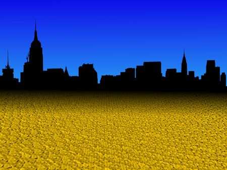 Midtown Manhattan skyline with golden dollar coins foreground illustration