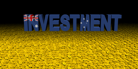 Investment text with Australian flag on coins illustration