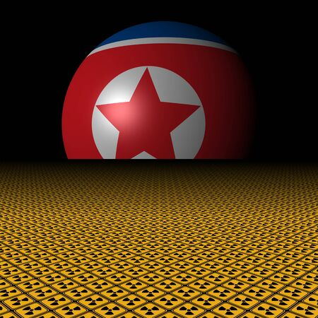 North Korean flag sphere and radioactive warning signs illustration