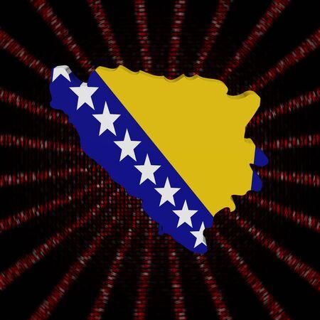 De kaartvlag van Bosnië op rode de burstillustratie van de hexuitdraaicode