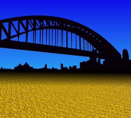 sydney skyline: Sydney skyline with golden dollar coins foreground illustration