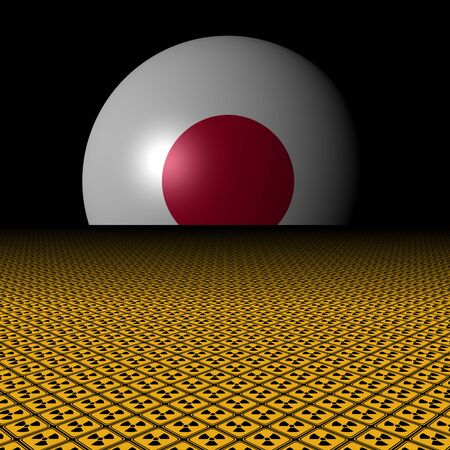 Japanese flag sphere and radioactive warning signs illustration Stock Photo
