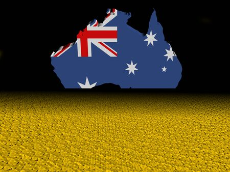 Australia map flag with dollar coins foreground illustration Stock Photo