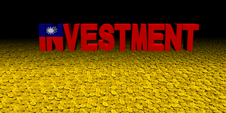Investment text with Taiwanese flag on coins illustration Stock Photo