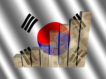 Currency graph on rippled Korean flag illustration Stock Photo
