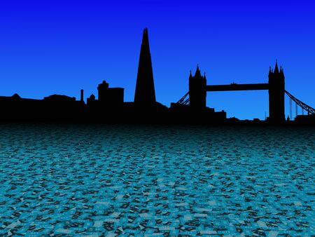 london tower bridge: London skyline with abstract pound currency foreground illustration Stock Photo