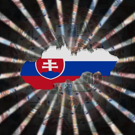 Slovakia map flag on currency burst illustration Imagens