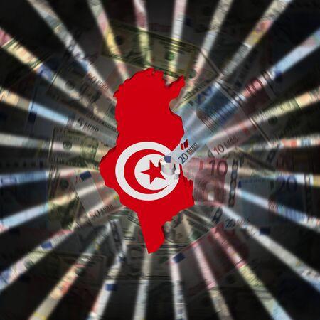 Tunesië kaart vlag op valuta burst illustratie Stockfoto