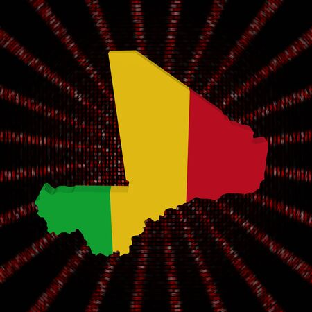 Mali map flag on red hex code burst illustration Stock Photo