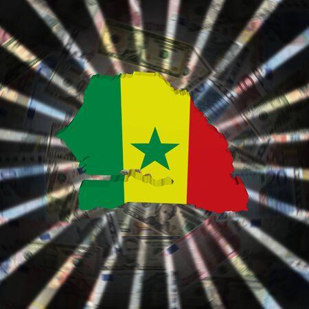 senegal: Senegal map flag on currency burst illustration