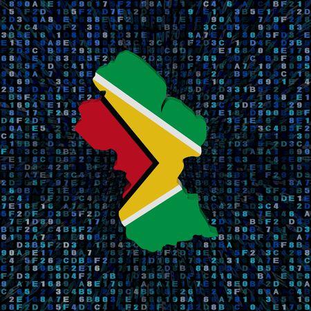 Guyana map flag on hex code illustration