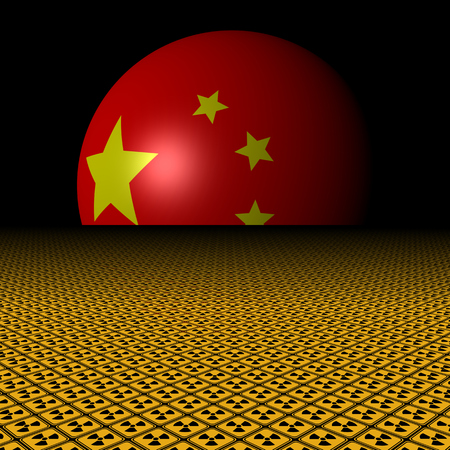 Chinese flag sphere and radioactive warning signs illustration