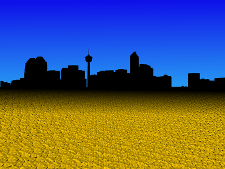 Calgary skyline with golden dollar coins foreground illustration