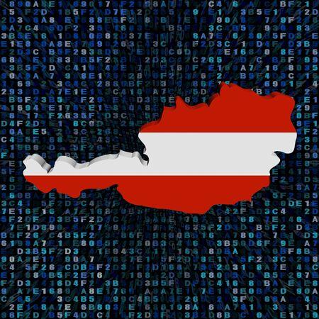 Sterreich Karte Flagge auf Hex-Code Illustration Standard-Bild - 82572109