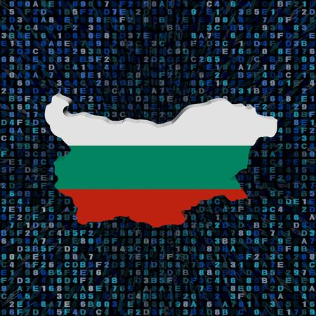 Bulgaria map flag on hex code illustration Stock Photo