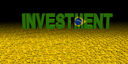 Investment text with Brazilian flag on coins illustration Stock Photo