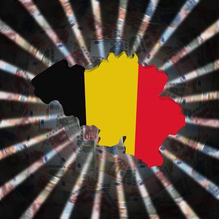 Belgium map flag on currency burst illustration Imagens