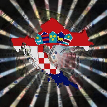 Croatia map flag on currency burst illustration