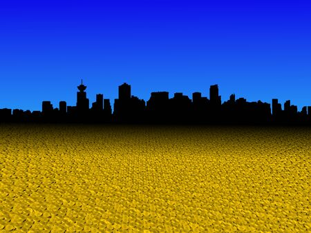 vancouver city: Vancouver skyline with golden dollar coins foreground illustration Stock Photo