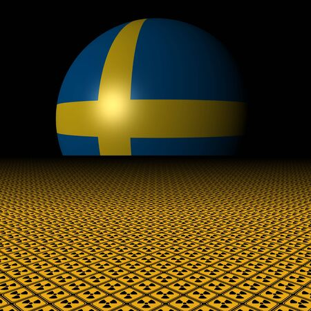 radioactive warning symbol: Swedish flag sphere and radioactive warning signs illustration Stock Photo