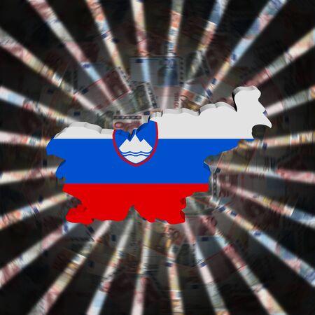 통화 버스트 그림에 슬로베니아지도 플래그 스톡 콘텐츠
