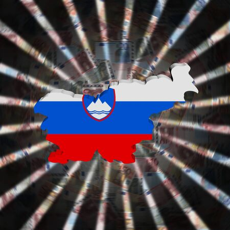 Slovenia map flag on currency burst illustration