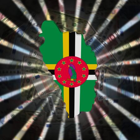 Dominica map flag on currency burst illustration